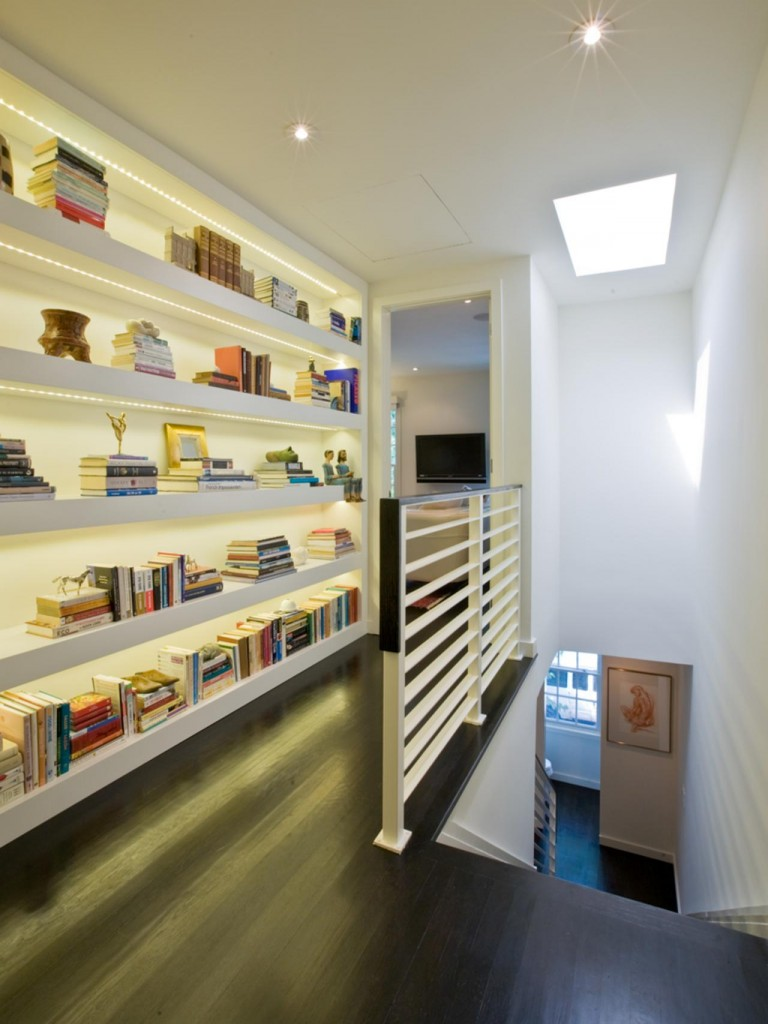 Nice Unusual Bookshelves Interior Decoratio. highlighted Shelving near the stairs
