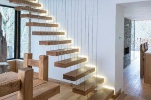 Interior Staircase Original Design Ideas. Unique stairway with highlighted stairs suspended on strings