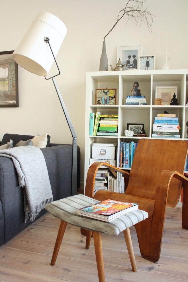 Modern Interior Design Light Fixtures Choice. Hi-tech styled torchere in the scandinavian apartment