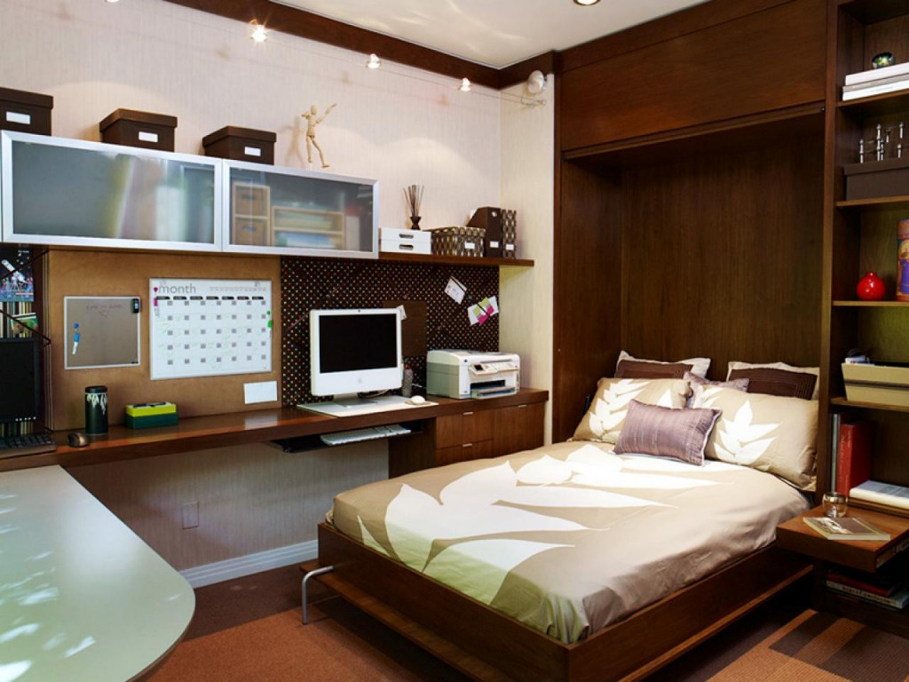 Built-in Bed Small Apartments Interior Design Solution. Business atmosphere of the home office is abided