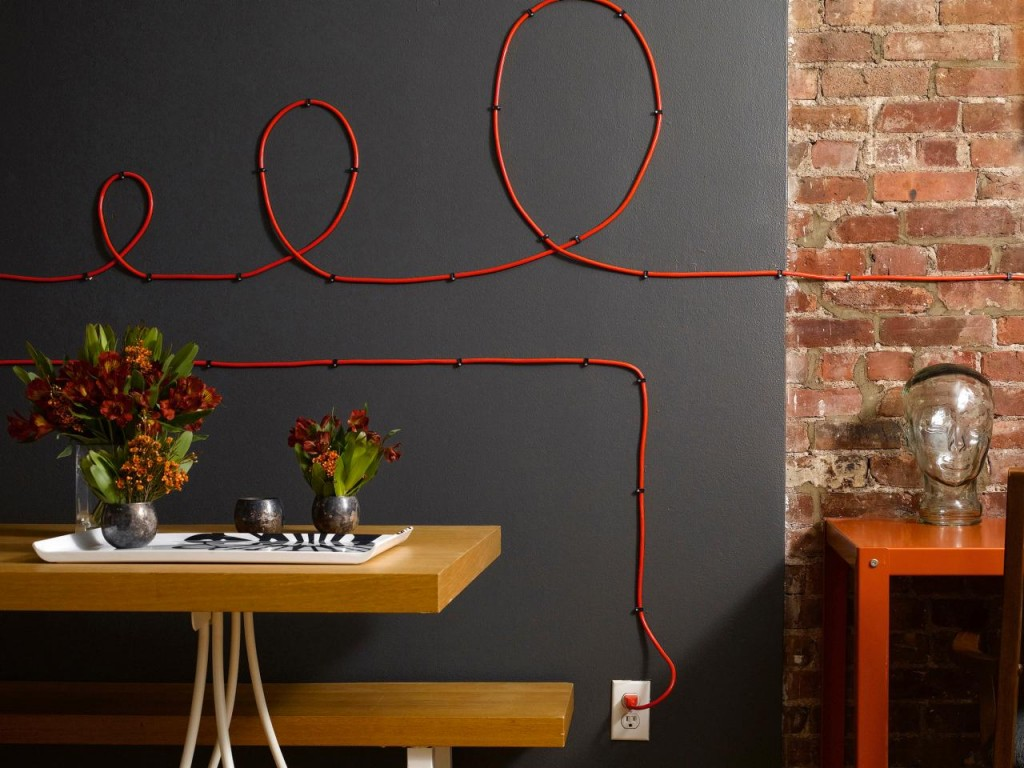 Wires and Cords as Interior Decorating Ideas in the complex decorated area with red cord