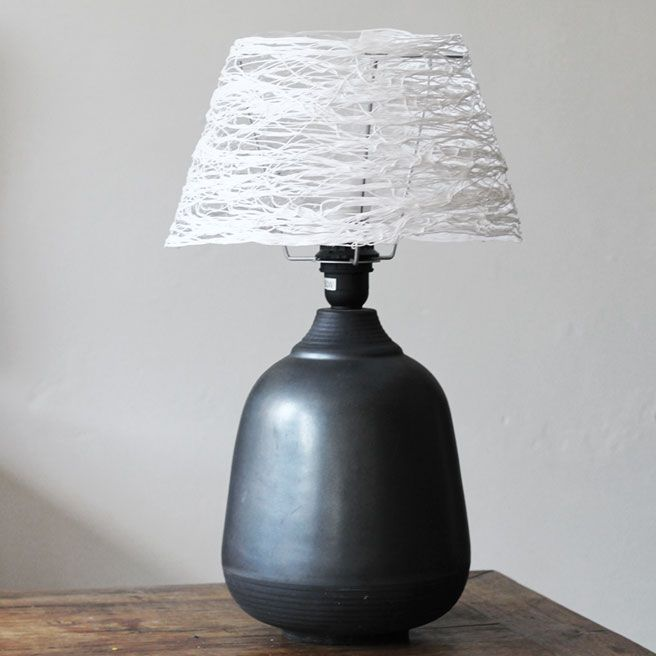 DIY Lampshade Interior Decorating Element on the bulb-looling table lamp