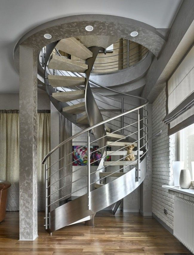 Staircase Modern Constructions Types Design. Metal staircase with closed risers by panel of stringer