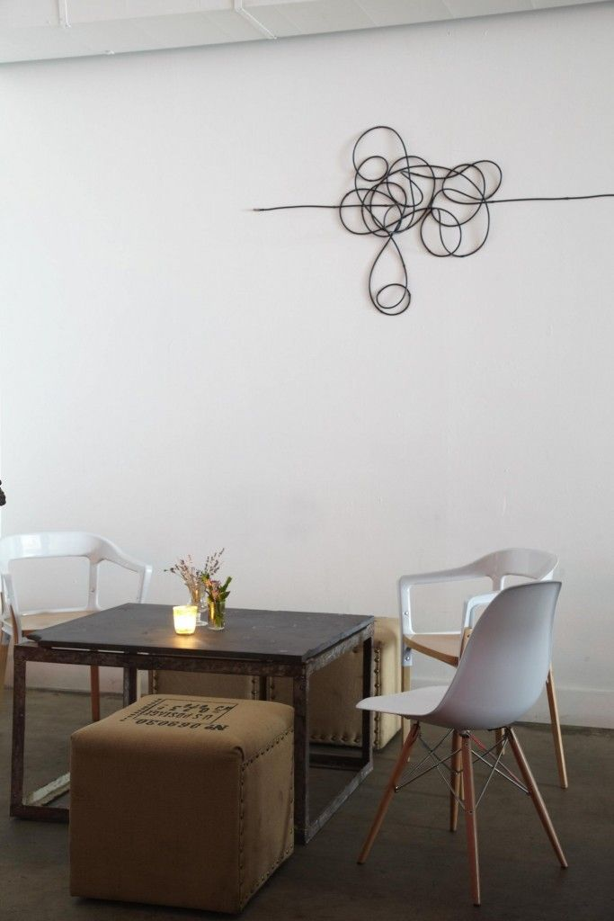 Wires and Cords as Interior Decorating Ideas in the dining room with abstract image