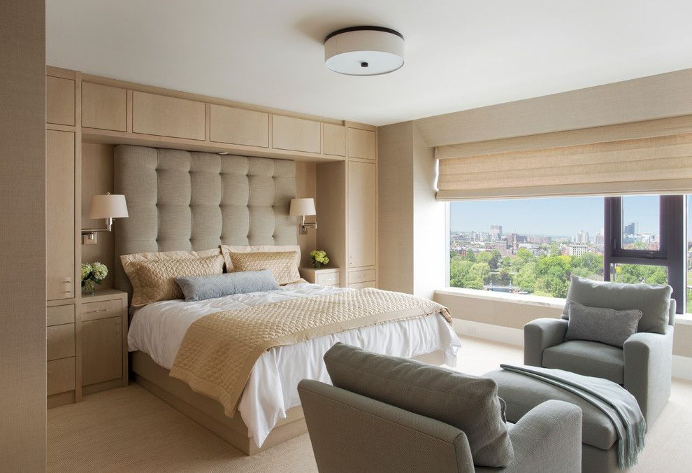 Bedroom Interior Furniture Set Programme Ideas. Premises with soft headboard and niche for bed