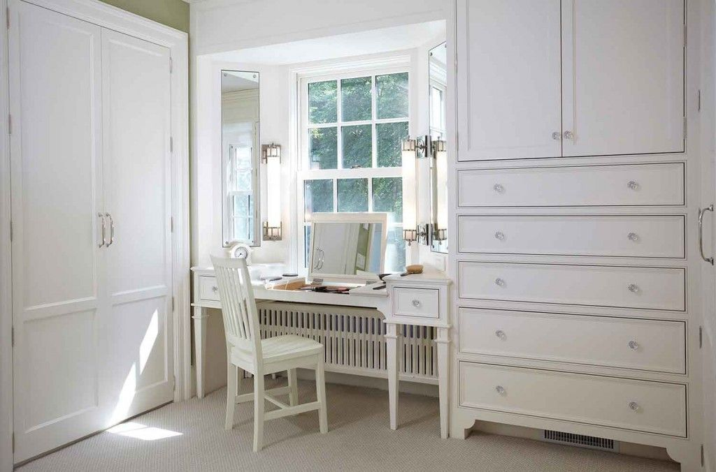 Women`s Personal Space: Boudoir Arrangement Ideas in the ideally white bedroom with big cabinet