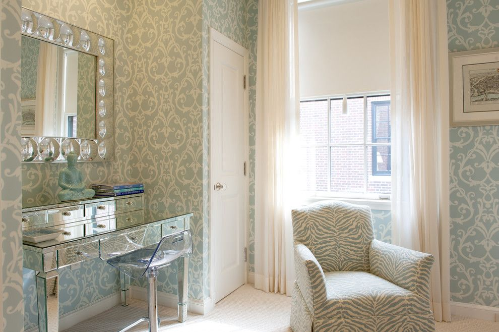 Women`s Personal Space: Boudoir Arrangement Ideas eclectic interior in the interior with unusual print of green wallpaper