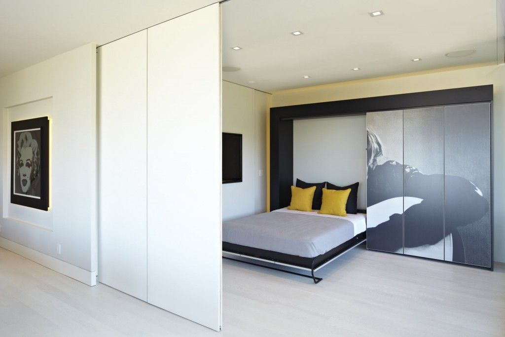 Built-in Bed Small Apartments Interior Design Solution. Partition zoning and hidden cabinet sleeping place design solution for tight space