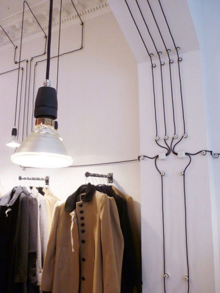 Wires and Cords as Interior Decorating Ideas in the wardrobe. Loft style