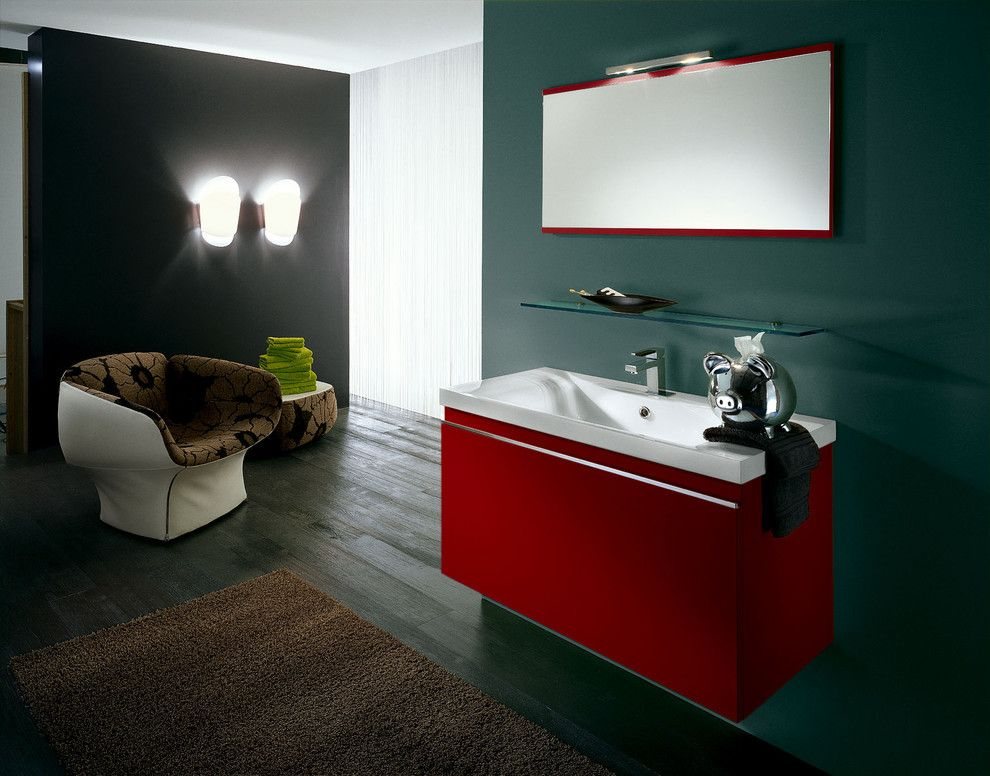 Red Color Interior Design Ideas. Cobtrasting sink cabinet
