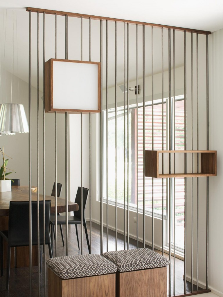 Interior Partitions Room Zoning Design Ideas. Decorative space divider of shelves and rope