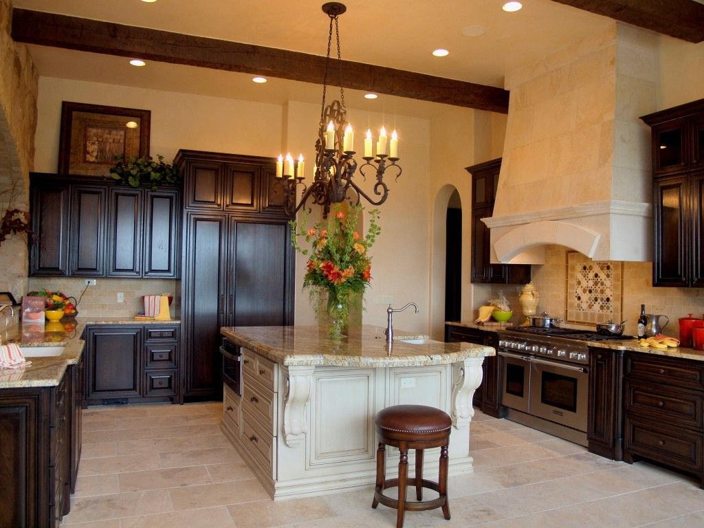 mediterranean interior design style island kitchen in naturalistic european atmosphere