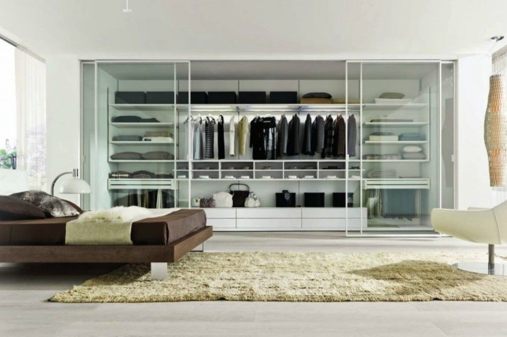 Dream Bedroom Wardrobe Decorating Ideas. Genuine Scandinavian low-key eco style for the large apartment with IKEA bed and glass paneled wardrobe