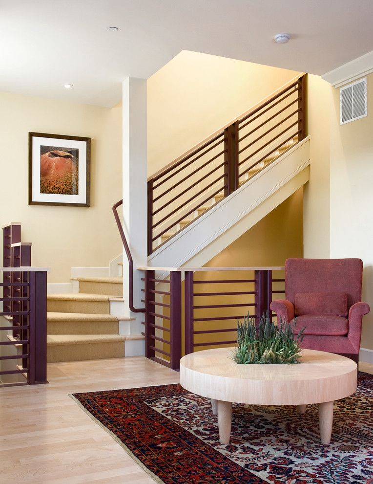 Rugs, Carpet, Carpeting Interior Design Ideas. Living room with stairs and colorful carpet