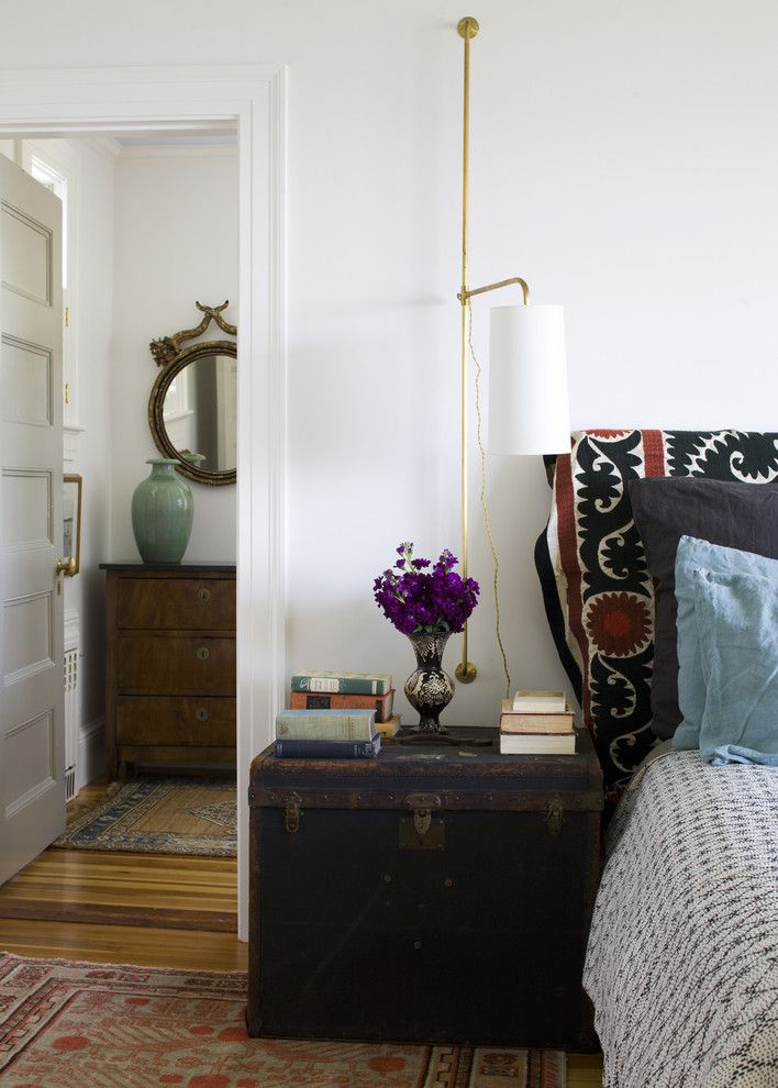 Modern Interior Design Light Fixtures Choice. Wall mounted lamp in the modest austere bedroom