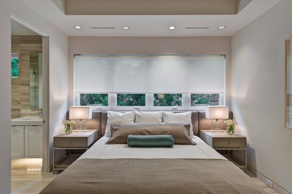 Bedroom Interior Furniture Set Programme Ideas. Brown and grey mix in the ambience of convenient homey premise with white cloth blinds on the wide window