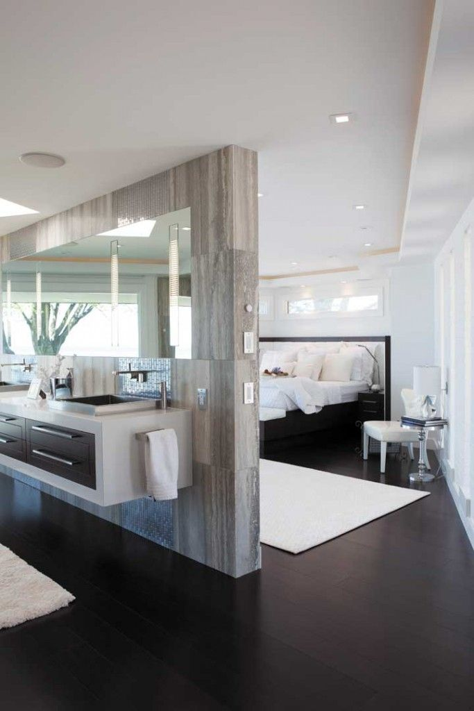 Interior Partitions Room Zoning Design Ideas. Bedroom with boudoir dividing wall