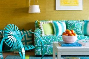 Textile Wallpaper Interior Decoration Ideas. Turquoise interior pasted with jute wallpaper