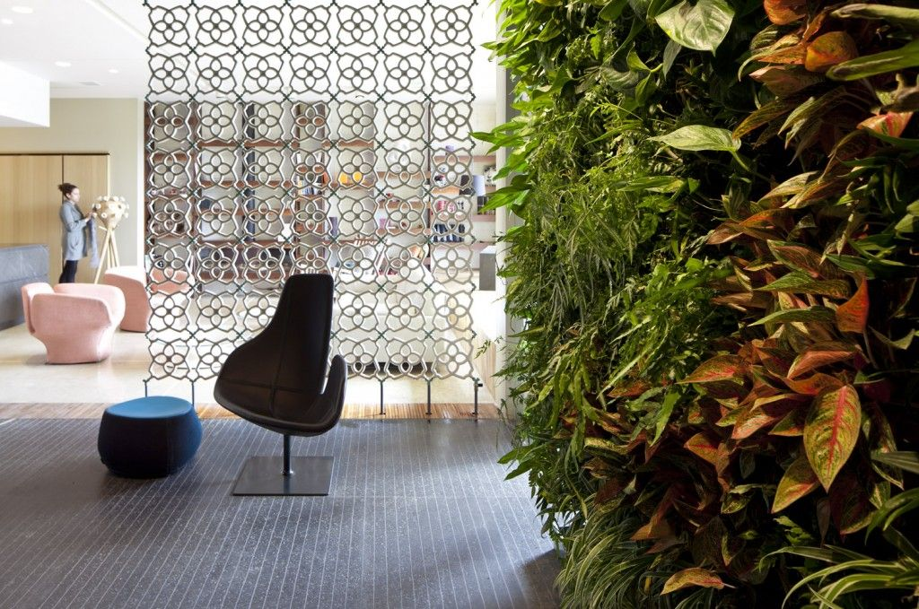 Interior Partitions Room Zoning Design Ideas with phytowall eco theme in the large living