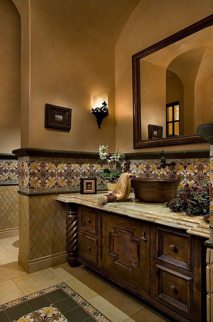 Mediterranean Interior Design Style. Noble wooden arrangement of the bathroom