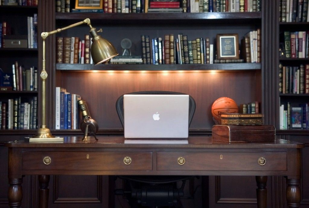 Modern Interior Design Light Fixtures Choice. Home office with built-in lighting
