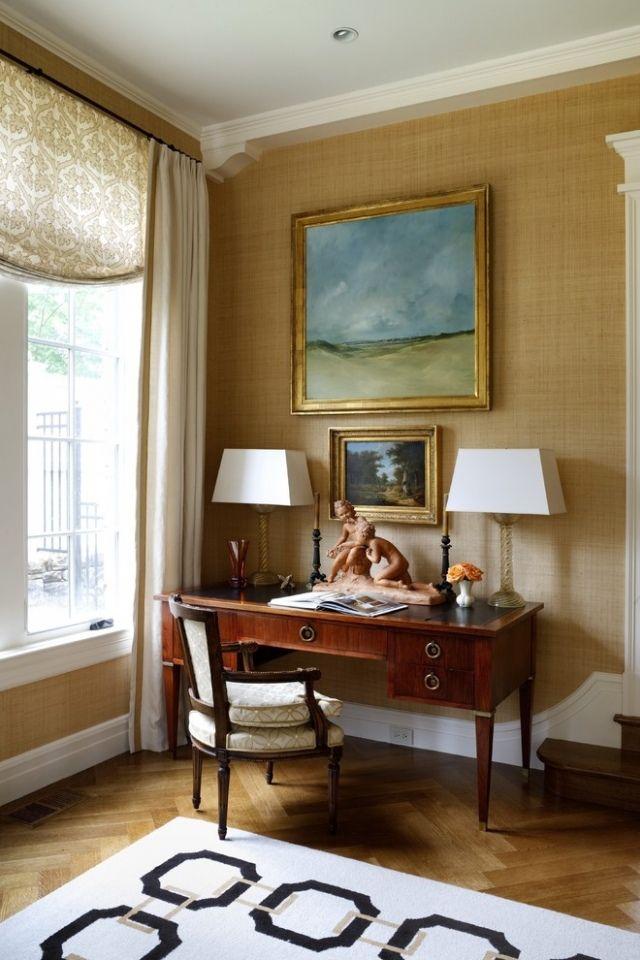 Textile Wallpaper Interior Decoration Ideas linen wallpaper in the vintage apartment`s interior
