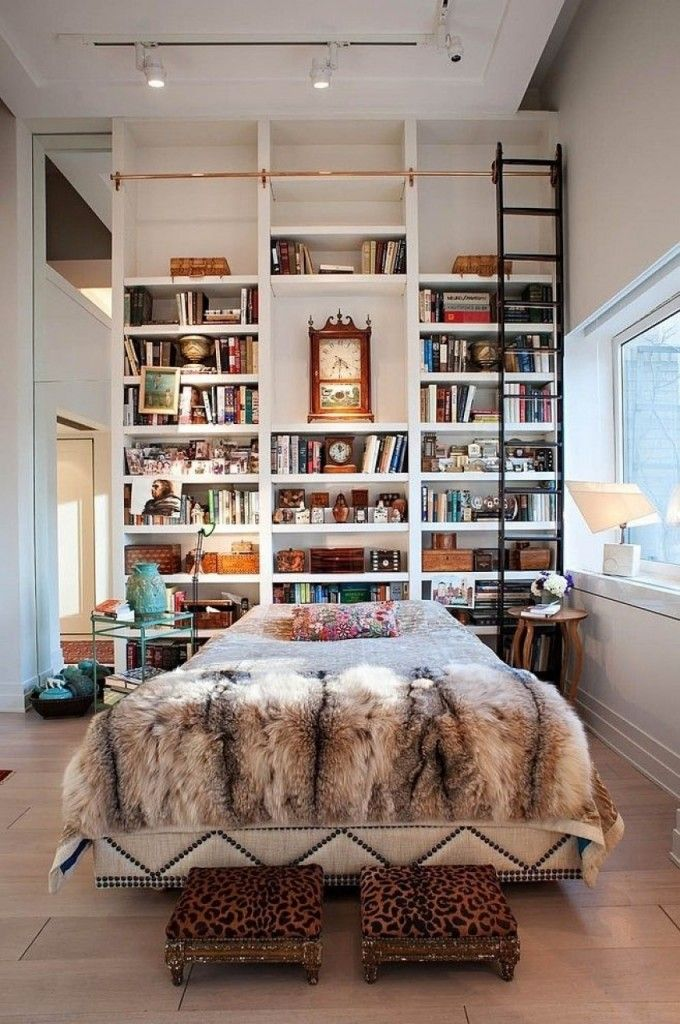 Nice Unusual Bookshelves Interior Decoration. High stand with ladder