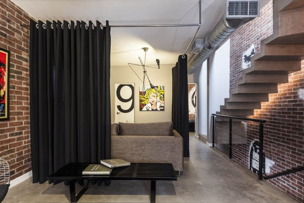 Interior Partitions Room Zoning Design Ideas. Black curtain on the steel cornice