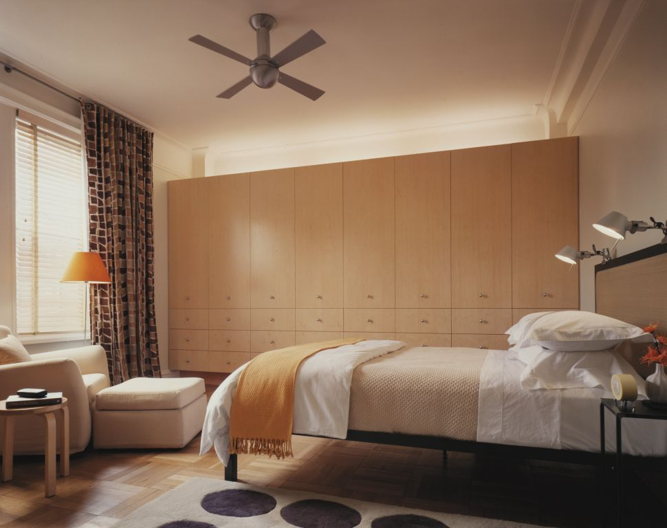 Bedroom Interior Furniture Set Programme Ideas with wall height cabinets with backlight and a fan in the center