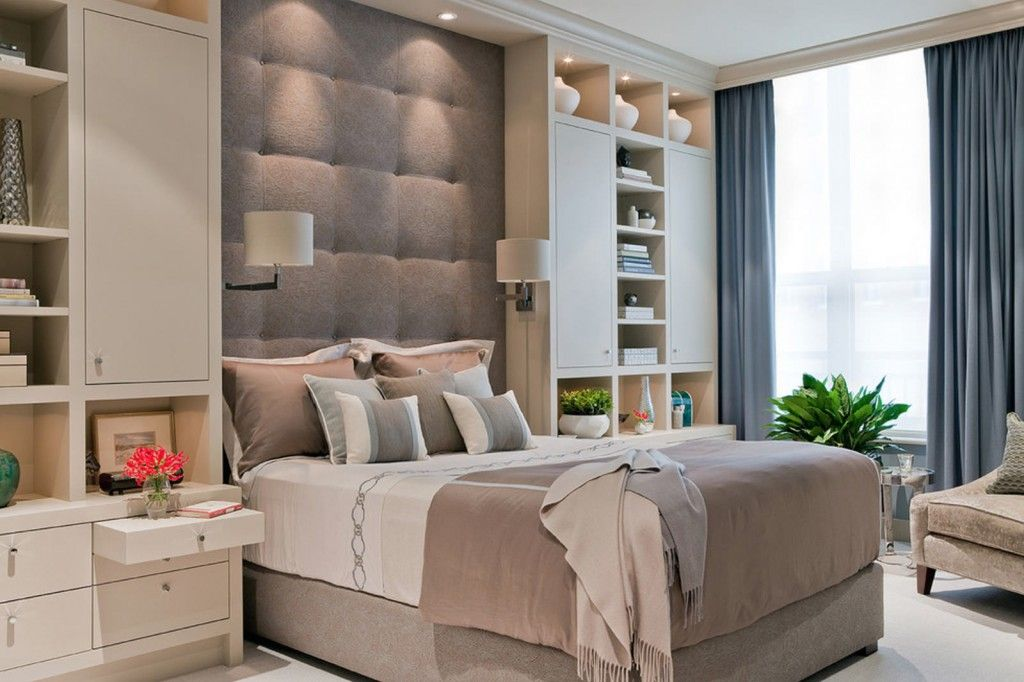 Bedroom Interior Furniture Set Programme Ideas. Soft wall and the white shelving in the bedroom