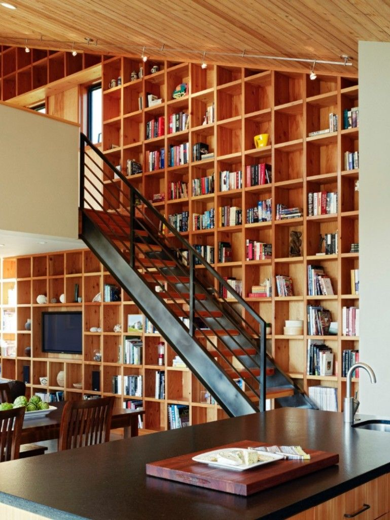 Nice Unusual Bookshelves Interior Decoration. Too much books for one wall