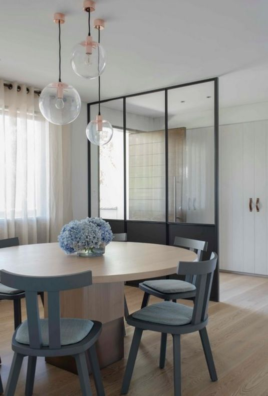 Australian Ocean Shore Private House Design Review. Dining zone of the minimalistic dining room with glass screen