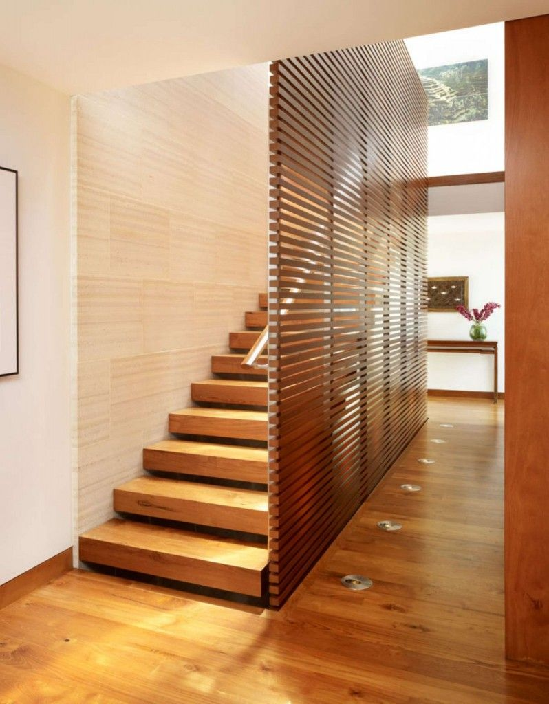 Modern Interior Staircase Materials Photo. Fully wooden staircase in the wooden trimmed interior