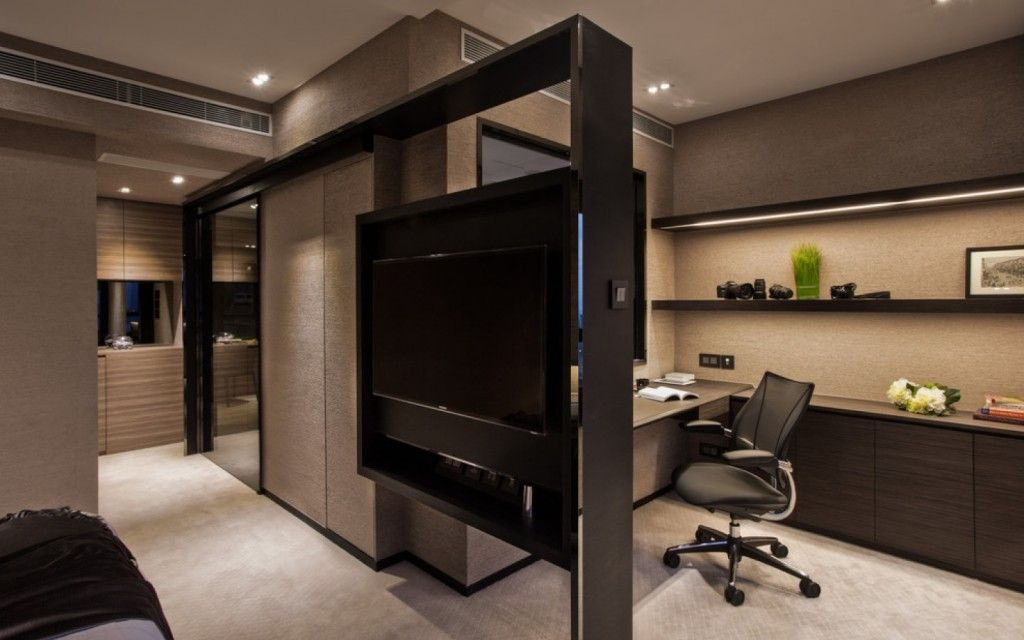 Interior Partitions Room Zoning Design Ideas. Home office in dark tones