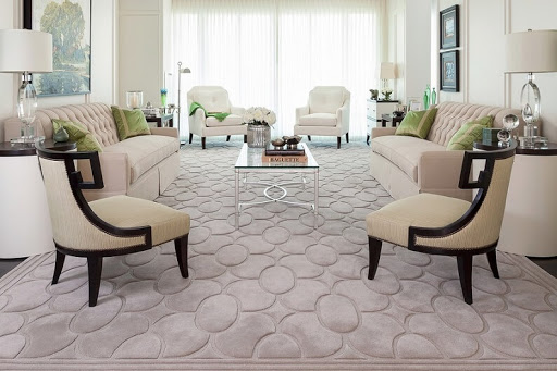 Texturedcarpet for modern styled living room with translucent tulle and mild beige furniture