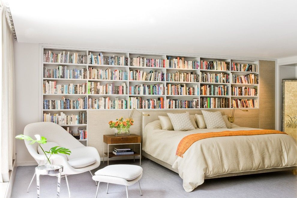 Nice Unusual Bookshelves Interior Decoration. Library in the bedroom with organic white shelving for books in the white interior