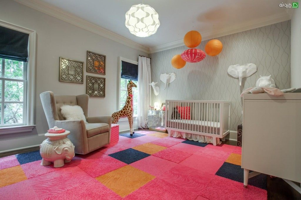 Rugs, Carpet, Carpeting Interior Design Ideas. Nice childrens room arrangement with big soft toys and balloons