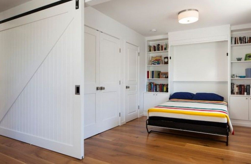 Built-in Bed Small Apartments Interior Design Solution for the white and wood condominium