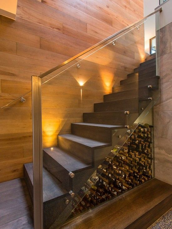 Interior Staircase Original Design Ideas. Wine cellar right under your glass fenced stairs