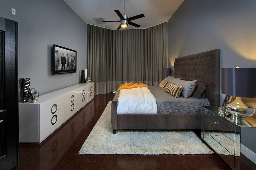 Bedroom Interior Furniture Set Programme Ideas. Black fan and frame of the TV-set are the only contrasting spots of the vivid appearance