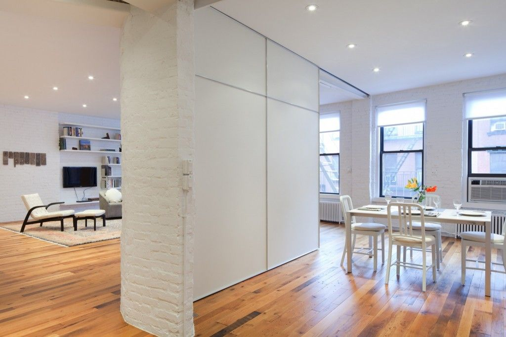 Interior Partitions Room Zoning Design Ideas. White brickwork and plastic dividers in the living room