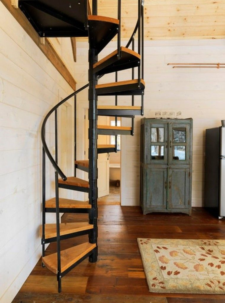 Staircase Modern Constructions Types Design. Classic spiral construction in the cramped space of apartment