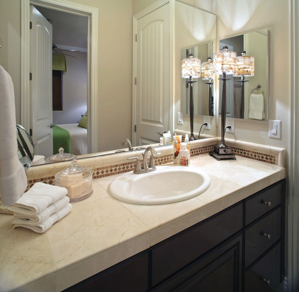 Modern Interior Design Light Fixtures Choice. Counter lamp in the bathroom