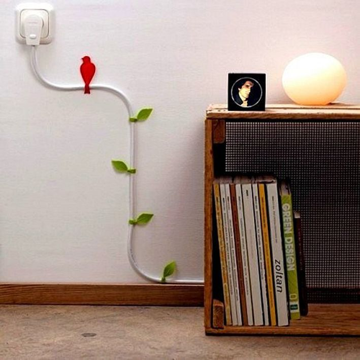 Wires and Cords as Interior Decorating Ideas. Bird and tree abstraction