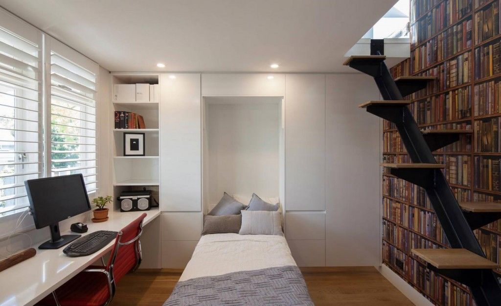 Built-in Bed Small Apartments Interior Design Solution. Unique stairs design in the tight room with unfolded sleeping place
