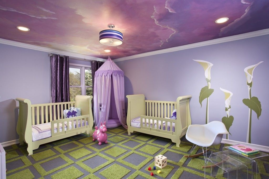 Rugs, Carpet, Carpeting Interior Design Ideas. Purple nursery with two beds