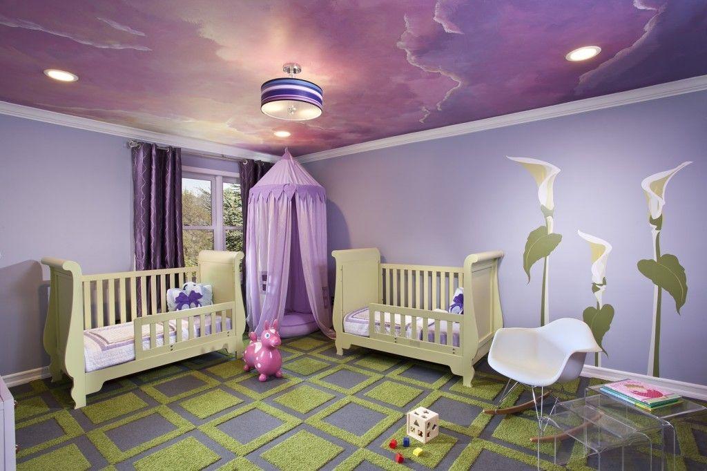 Rugs, Carpet, Carpeting Interior Design Ideas. Purple nursery with two beds