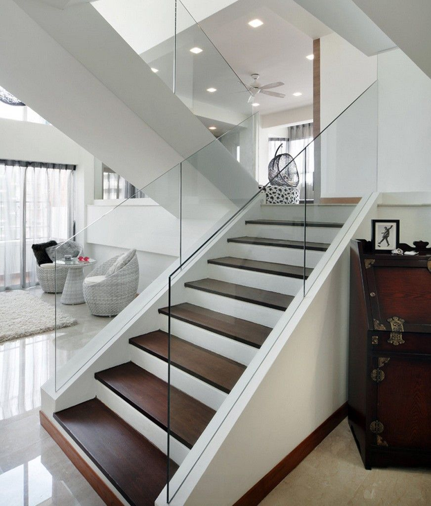 Staircase Modern Constructions Types Design. Glass panels  for transparent handrails