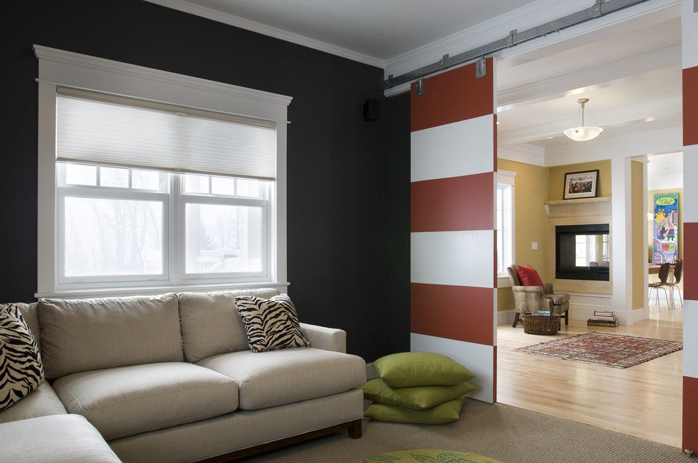 Sliding Doors Interior Design Ideas. Red and white mix of colors on the folding door