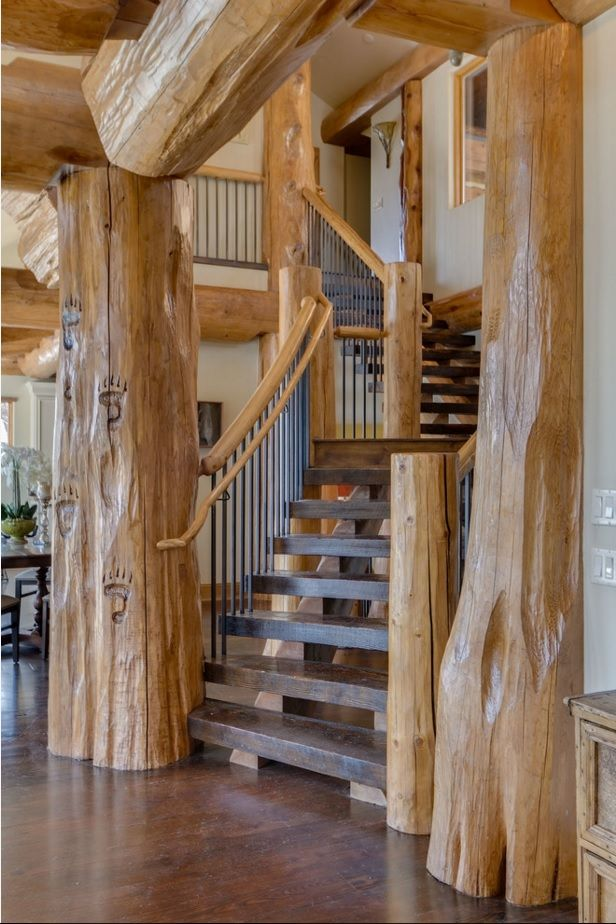 Interior Staircase Original Design Ideas. Raw untreated eco materials for the production of modern stairs in country style